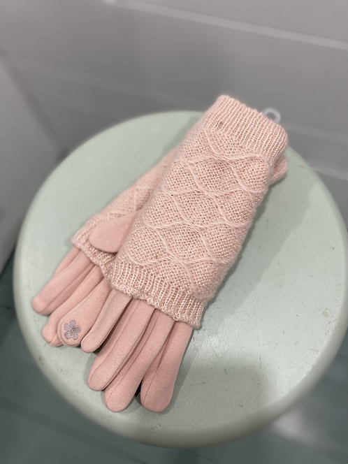 WELLCO PINK LAYERD TEXTING GLOVES