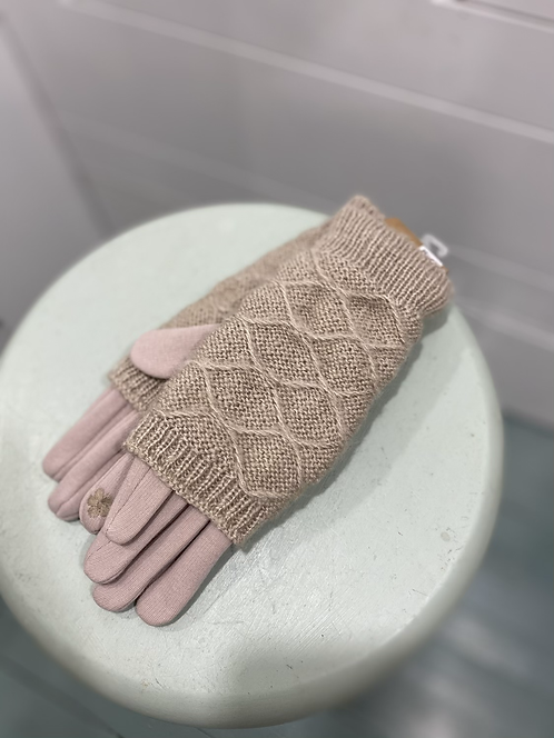 WELLCO LIGHT TAUPE LAYERD TEXTING GLOVES