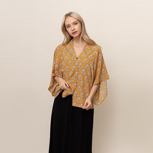 DO EVERYTHING IN LOVE BUTTON UP KIMONO TOP YELLOW