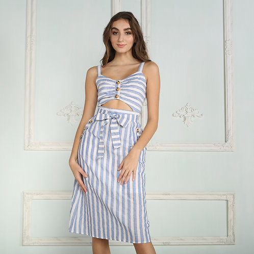 SIMI STRIPED DRESS WITH CUT OUT DETAIL