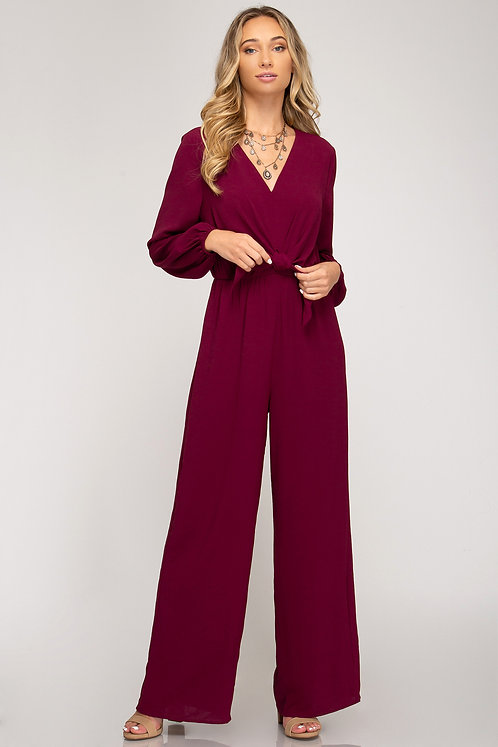 SHE AND SKY LONG SLEEVE JUMPSUIT WINE