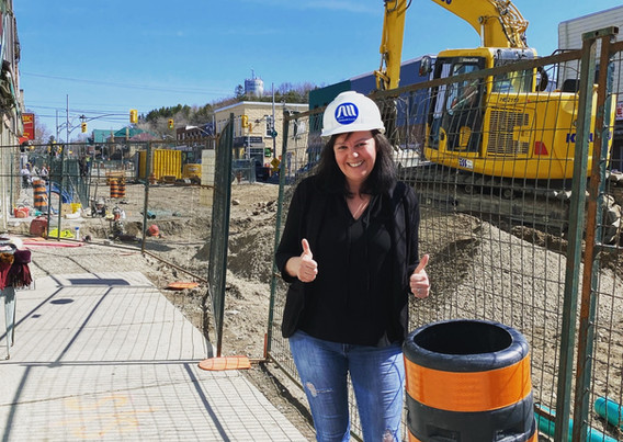 Owner Natasha, giving a thumbs up to the amazing downtown revitalization, 2021