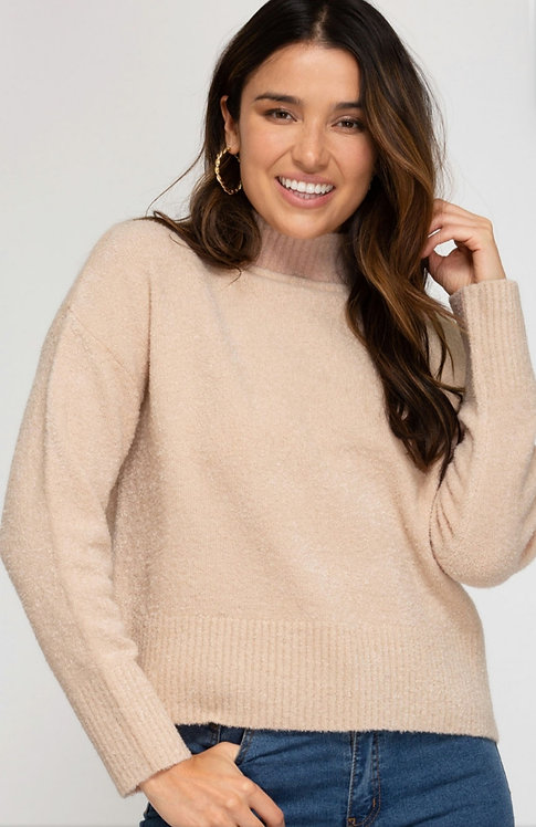 SHE AND SKY LONG SLEEVE KNIT SWEATER ROSE