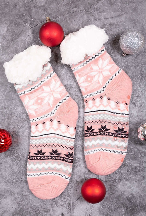 WELLCO FUZZY SOCK SLIPPERS PINK WITH WHITE SNOWFALKE