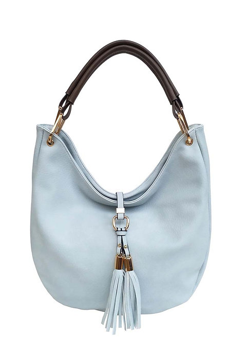 PASSION LIGHT BLUE PURSE WITH FRINGE