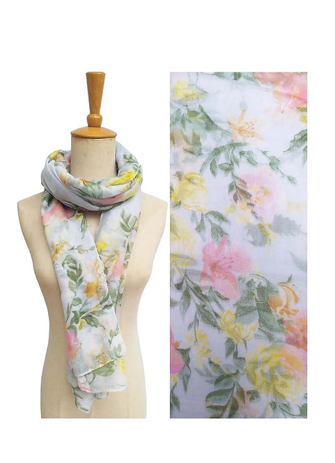 PASSIONS LIGHT WEIGHT SCARF SOFT BLUE FLORAL