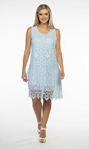 CHERISHH BABY BLUE COTTON LACE DRESS