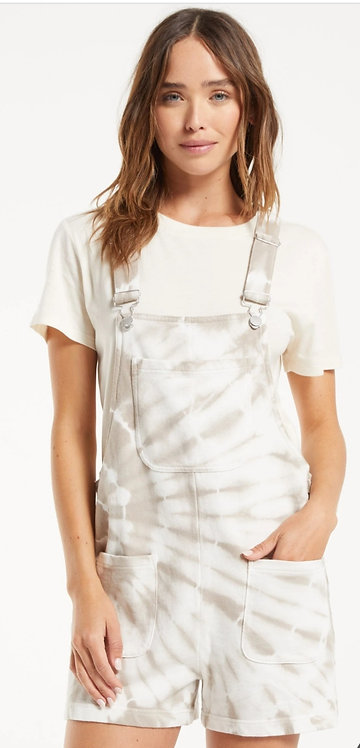 Z SUPPLY TIE-DYE SHORT OVERALLS TAUPE
