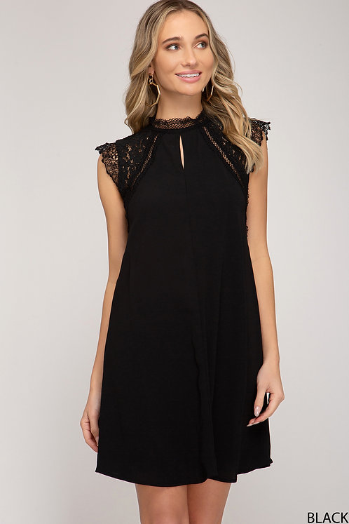 SHE AND SKY BLACK DRESS WITH LACE SHOULDERS