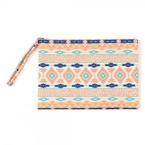 STYLINE ZIP UP COSMETIC BAG PINK AND BLUE