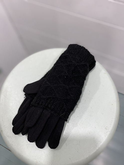 WELLCO BLACK LAYERD TEXTING GLOVES