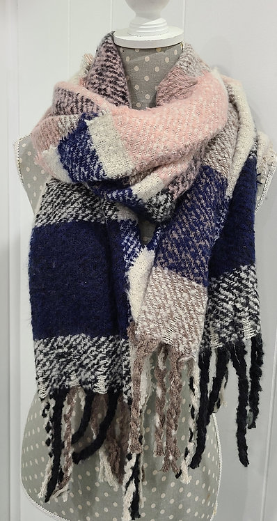 PICABO PINK BLUE GREY CREAM SCARF