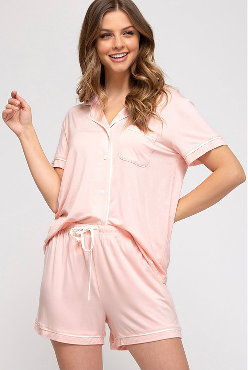 SHE & SKY JERSEY KNIT 2 PIECE SHORT PJ SET PEACH
