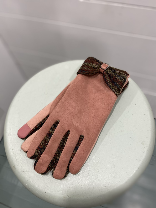 WELLCO PINK TEXTING GLOVES WITH TOP BOW