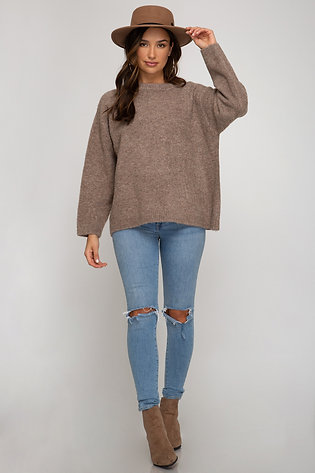 SHE AND SKY MOCHA SWEATER ONE SIZE