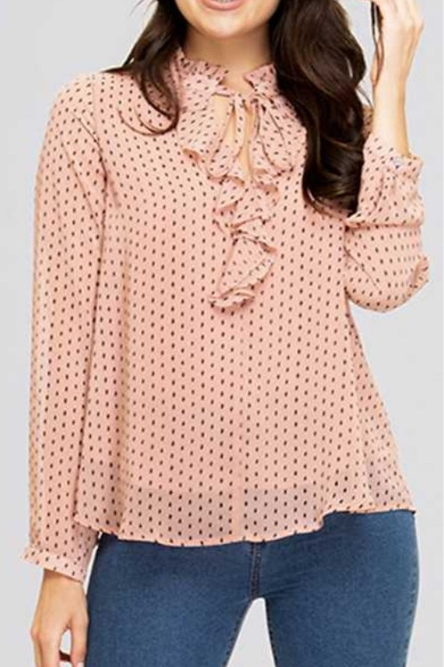 SHE AND SKY LONG SLEEVE RUFFLED BLOUSE
