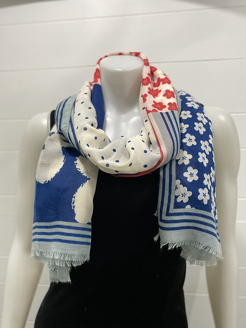 PICABO NAVY & RED SCARF WITH POPPYS, POKADOTS AND STRIPES