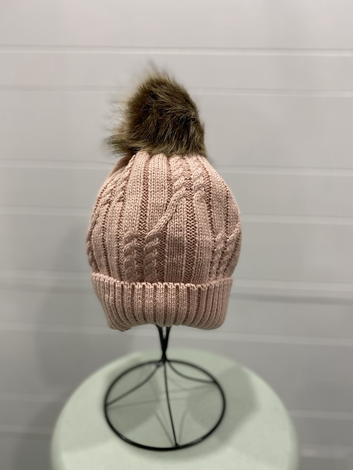 PINK TOQUE WITH BROWN FURRY POMPOM