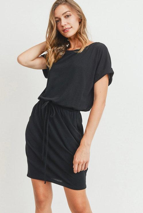 CHERISH BLACK DRESS WITH WAIST TIE