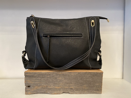 PASSIONS PURSE BLACK WITH FRONT & BACK ZIPPERS
