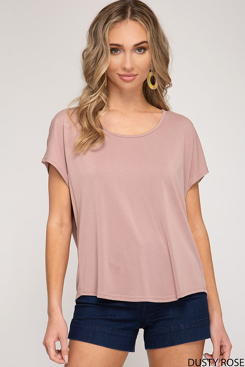 SHE AND SKY DUSTY ROSE TEE WITH ZIPPER BACK
