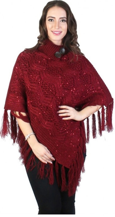 GRAND PONCHO PATTERN WITH SEQUINS