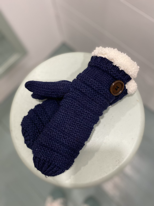 WELLO NAVY MITTENS WITH BUTTON