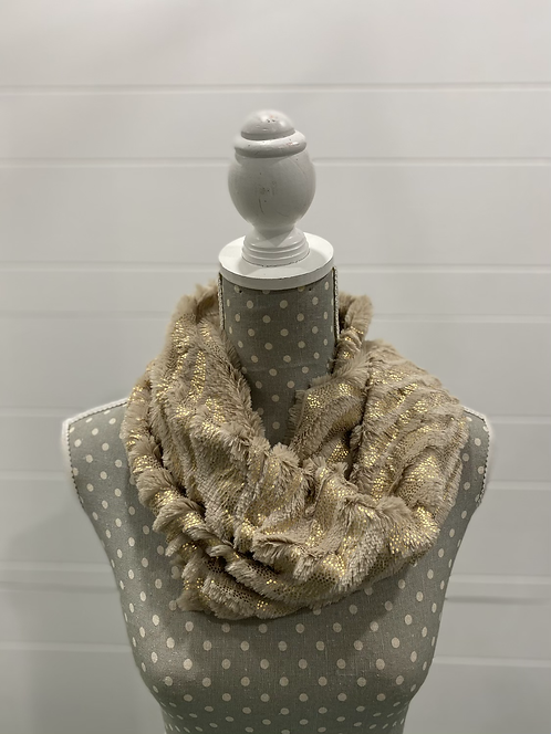 PICABO BEIGE SCARF WITH GOLD FUZZY