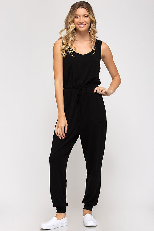 SHE & SKY SLEEVELESS KNIT JUMPSUIT WITH POCKETS AND WAIST ELASTIC