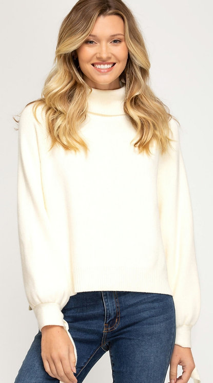 SHE AND SKY TIED SLEEVE TURTLE NECK  SWEATER