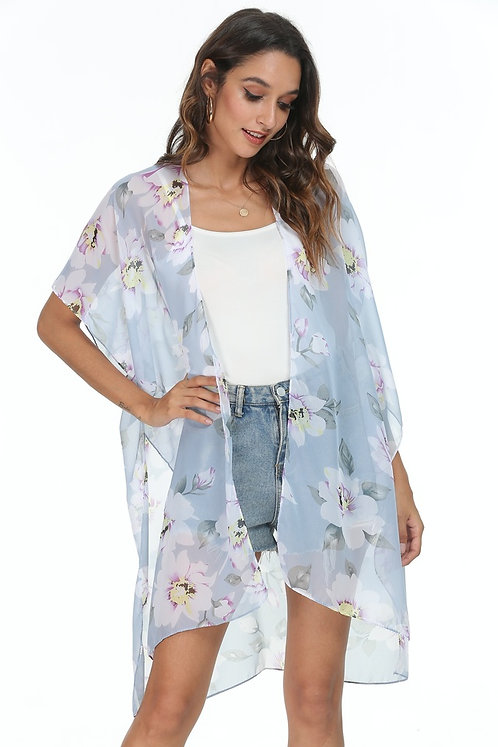 WELLCO KIMONO GREY/BLUE WITH FLOWERS
