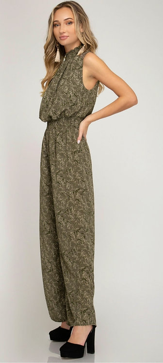 SHE AND SKY SLEEVELESS PRINTED JUMPSUIT WITH SMOCKED WAISTBAND