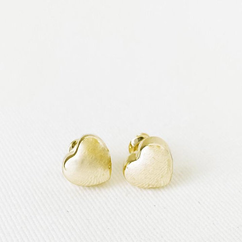 CARACOL GOLD HEART STUD EARRINGS