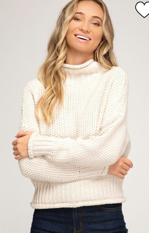 SHE AND SKY CHUNKY KNIT TURTLE NECK SWEATER