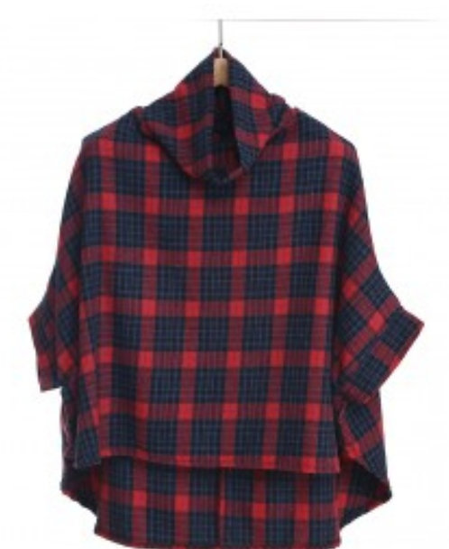 SHINEMARK RED AND BLUE PONCHO