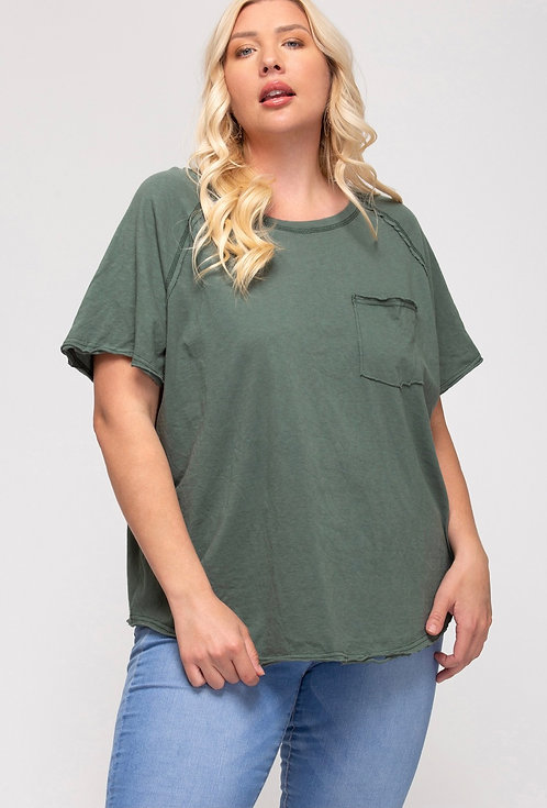 SHE & SKY CACTUS GREEN TEE WITH POCKET DETAIL