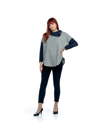 PAPILLON SWEATER PONCHO GREY/CHARCOAL