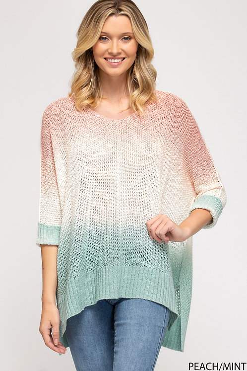 SHE & SKY DIP DYED HI LOW KNIT SWEATER TOP PEACH/MINT