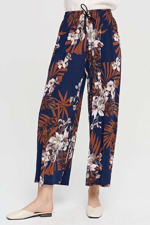WELLCO ONE SIZE PANT NAVY FLOWERS