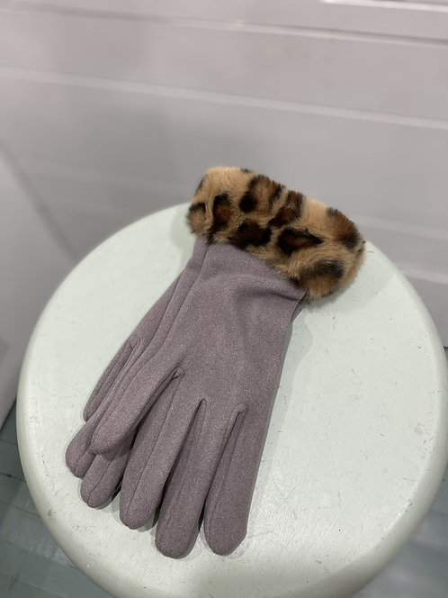 CHEIREE  BLISS MAUVE TEXTING GLOVES LEOPARD