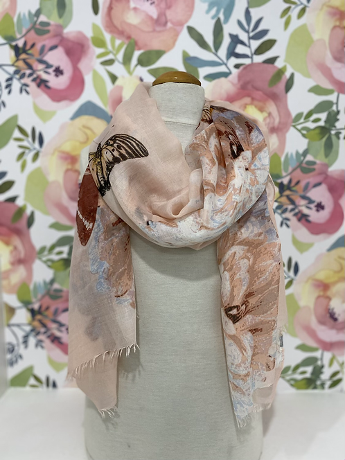 PINK LIGHT WEIGHT SCARF WITH BUTTERFLIES