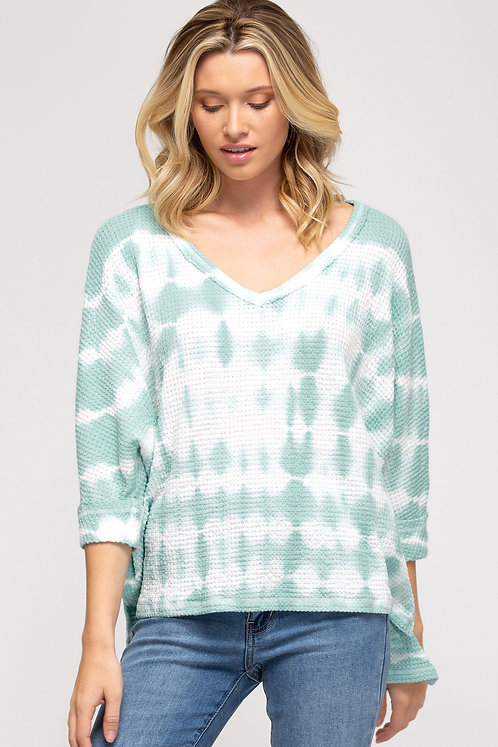 SHE AND SKY 3/4 CUFF SLEEVE THERMAL KNIT SEA FOAM TIE DYE TOP