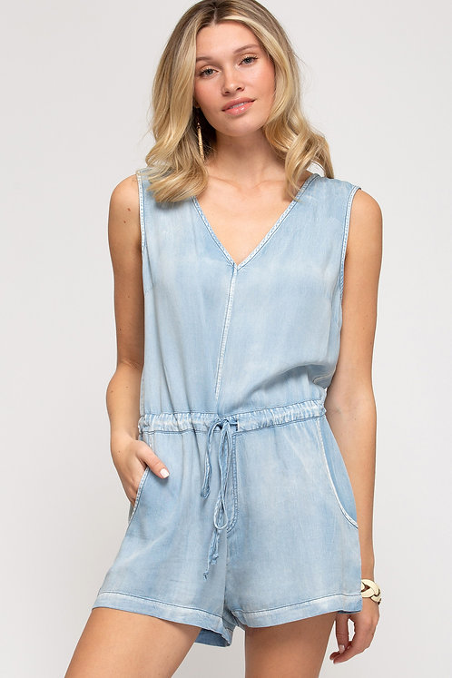 SHE & SKY SLEEVELESS WASHED DENIM ROMPER WITH POCKETS
