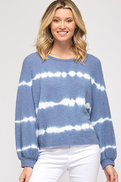 SHE & SKY LONG SLEEVE TIE DYED THERMAL KNIT TOP