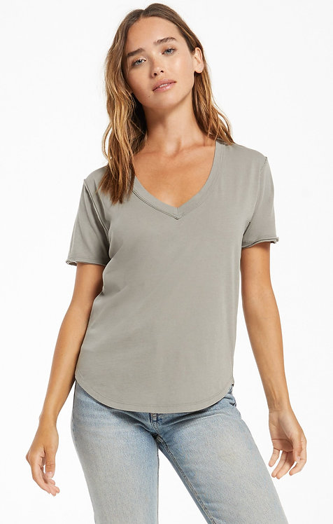 Z SUPPLY ORGANIC COTTON V-NECK TEE DUSTY SAGE