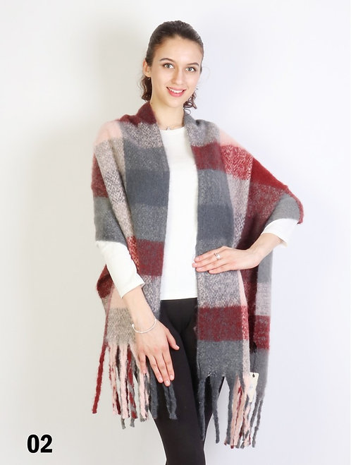 GRAND GREY & BURGUNDY CHECKER SCARF