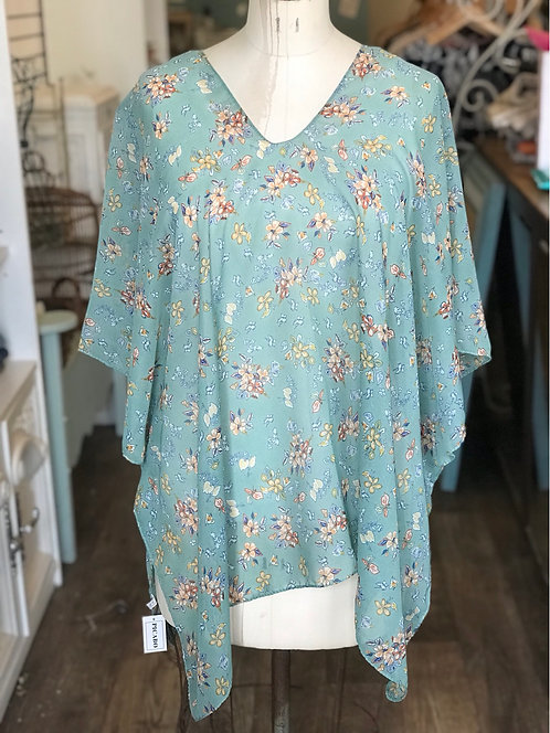 PICABO V NECK TOP TEAL WITH FLOWES