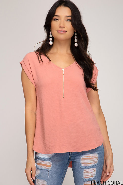 SHE AND SKY PEACH CORAL TEE WITH FRONT ZIPPER