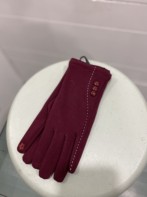 MEMORIES BURGUNDY TEXTING GLOVES WITH 3 BUTTONS