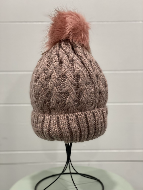 PINK TOQUE WITH CORAL FURRY POMPOM